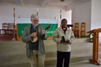 Leading worship with Bishop Gilbert